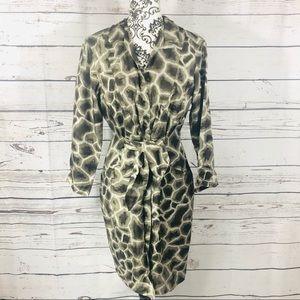 Elie Tahari Silk Maya Giraffe Print Shirt Dress 6